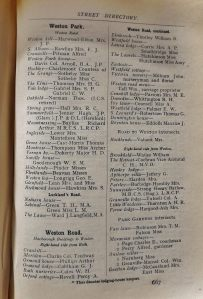 1912 Kelly's Directory Extract for Weston Park and Weston Road, Bath (Bath Record Office)