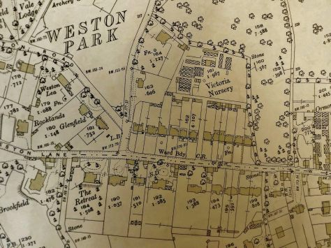 1932 OS Map 1 to 2500 Weston Road (Bath Record Office)
