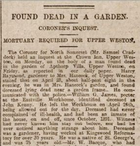 Bath Chronicle 1 May 1899 Body in Garden