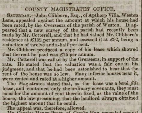 Bath Chronicle 18 June 1851 CLIBBORN rating appeal