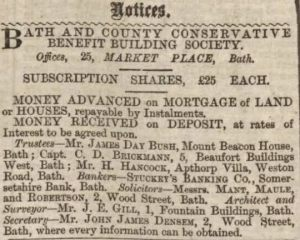 Bath Chronicle 2 March 1871 re HANCOCK Mr H. - Building Society