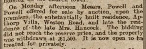 Bath Chronicle 20 December 1906 Auction