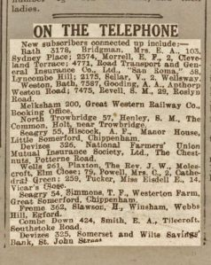"Bath Chronicle 27 July 1935 A. A. Gooding ""On The Telephone"""