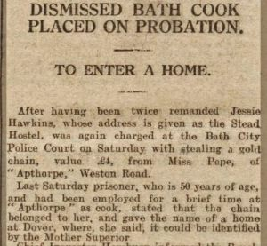 Bath Chronicle 30 December 1922 Dismissed Bath Cook