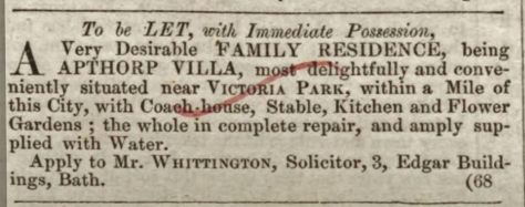 Bath Chronicle 6 June 1844 Apthorp Villa To be LET