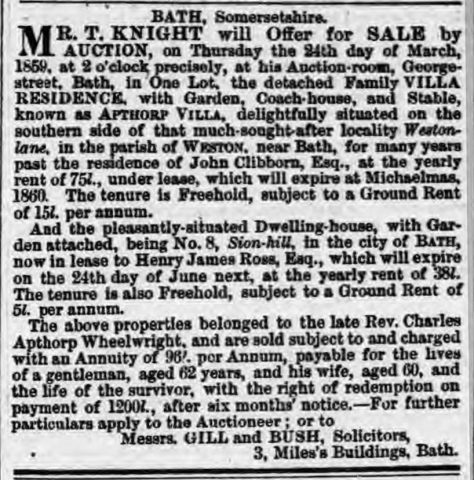 Lincoln, Rutland and Stamford Mercury 11-Mar-1859 Offer for Sale