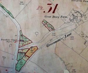 Map of Greenmans Lane, Dauntsey, 1910