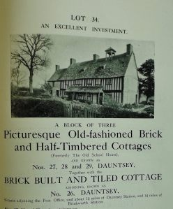 Cottages for Sale at 26 to 29 Dauntsey, 1913