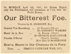 1881 Our Bitterest Foe Programme 4 April Shoreditch