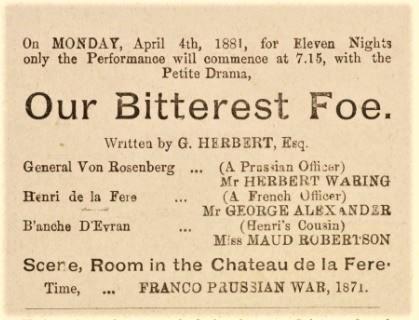 1881 Our Bitterest Foe Programme 4 April Shoreditch
