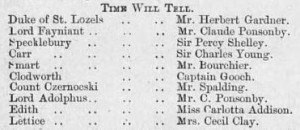 1885 Illus Sporting & Dram News 7 February Cast List