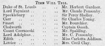 1885 Illus Sporting & Dram News 7 February Cast List